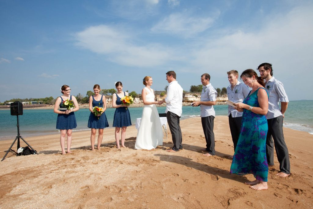 The wedding of Suzie and Chris on a sanbar off Cullen Bay, Darwin Sept 7 2012